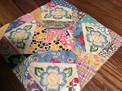 """15 30-40s VtG CRAZY QUILT BLOCKS ~5"""" Pieced Embroidered Squares ~ BLUE PANSIES"""