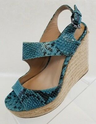 85fd8ac44902 Kenneth Cole NY Espadrille Wedge Open Toe Blue Leather Snake Print Shoes  Size 7M