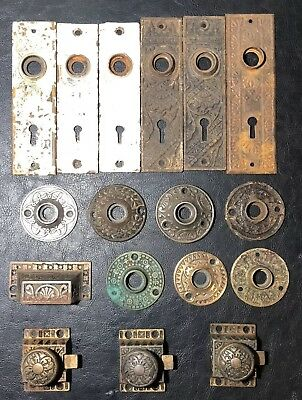 LOT of ANTIQUE EASTLAKE HARDWARE LATCHES DOOR BACKPLATES ROSETTES LATCHES PULL
