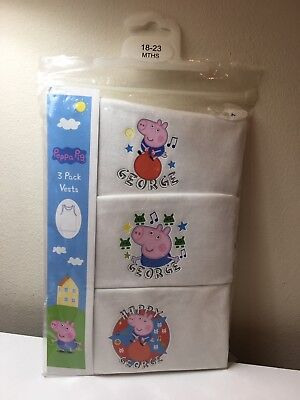 Peppa Pig 3 Pack Vests Baby 18-23 Months White Sleeveless BNWT