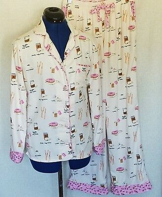Munki Munki Women s Flannel Pajamas Size Small 2 PC Beige Pink Coffee and  Donuts bd9f13f4d