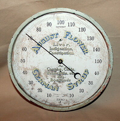 RARE Vintage August Flower German Syrup Brass Bound Advertising Thermometer NICE