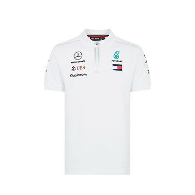 2018 Mercedes AMG F1 Team Lewis Hamilton Polo Shirt WHITE Mens OFFICIAL *SALE*