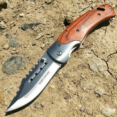"""8.25"""" WOOD SPRING ASSISTED FOLDING POCKET Tactical KNIFE Stainless Steel Blade"""