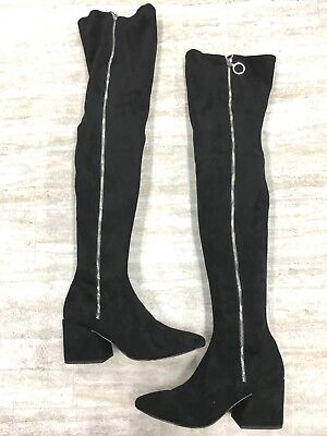 9c66982bcb6 DOLCE VITA VIX Zip-Up Over The Knee BOOTS 5.5 Zipper Black Suede NEW ...