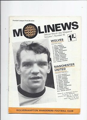 Wolverhampton Wanderers v Manchester United 15 February 1969