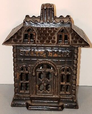 "Antique, ""Arcade"" Style, 3 3/4"" Cast Iron ""State Bank"" Still Bank"