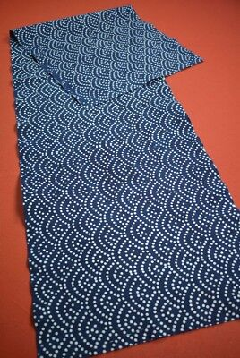 PX13/150 Vintage Japanese Fabric Cotton Antique Boro Patch Indigo Blue 53.1""