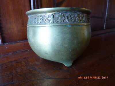 Antique Chinese Brass Footed Censor With Simple Bat Motif