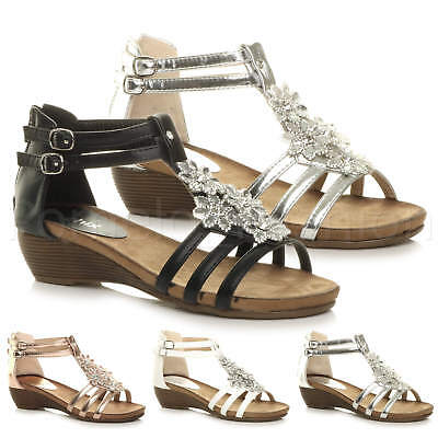a4f366732b3 Womens Ladies Low Mid Heel Wedge Gem Diamante Flower T-Bar Strappy Party  Sandals