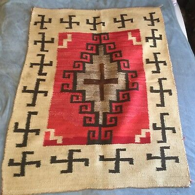 """Antique Navajo Rug / Blanket - Whirling Logs , Cross Early 1900's 52"""" BY 39.5"""""""