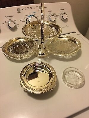 Lot Of 2 Vintage Silverplate Made In England Globe Dish & 3 Tier Dessert Stand
