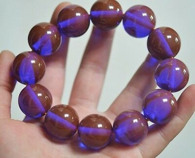 Exquisite Noble Golden Blue Amber Beads Hand Woven  Lucky Bracelet