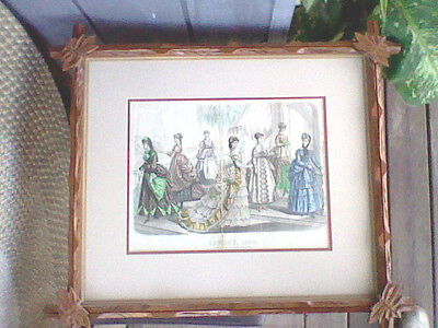 Frank Leslies Ladys Magazine Print August 1869 Carved Wood Matted Frame 27 X 24