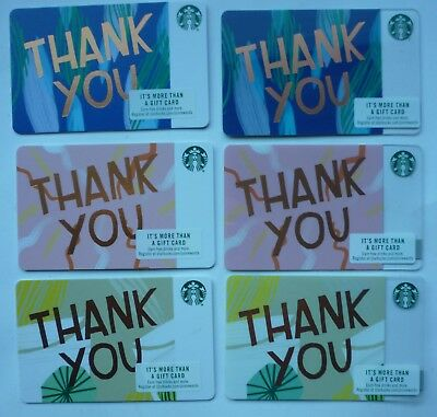 6 - Starbucks Cards ' Thank You ' 2018 #6160 & 6154 Blue, Yellow & Pink No Value