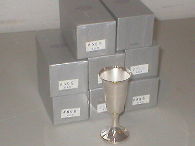 Set Of 8 Silver Plated - Wine / Cordial Goblets- 3 1/2 Inch K&m Silverplate Eng