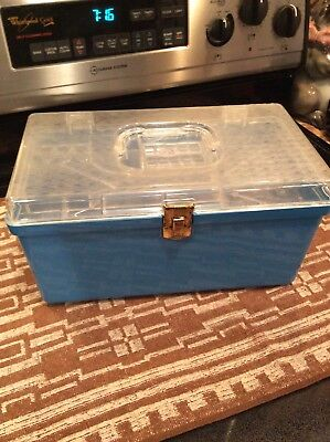 Vintage Wilson Wil-Hold Blue Plastic Sewing Box Only 1Removable Tray