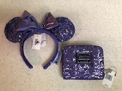 Disney Parks Minnie Mouse Loungefly ZIP Wallet Purple Potion Sequin New In Hand