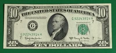 1950E $10 Green Federal Chicago X914 Choice VF Lower Issue! Chicago! Currency