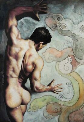 **FIGHT** ORIGINAL PAINTING MALE NUDE model GAY  ART DRAWING by novarit