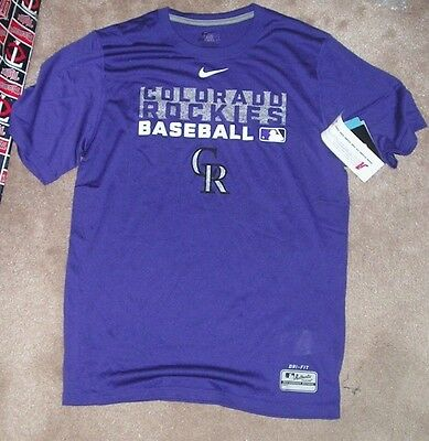 f066a87c8 NEW MLB Colorado Rockies Baseball T Shirt Men S Small NIKE Dri Fit NEW NWT