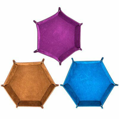 PU Leather Folding Hexagon Dice Rolling Tray Storage Box For Dice Table Game CG