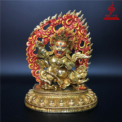 "10"" China Tibetan old copper Coloured painting Two arm Mahakala Buddha statue"