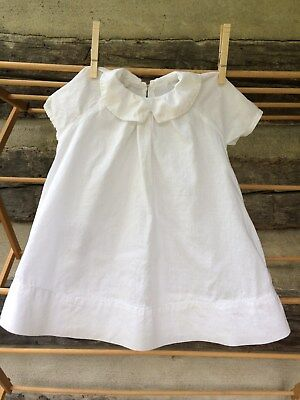 Vintage Handmade Baby Dress ~ White with Hand Stitching and Pink Buttons
