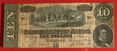 1864 $10 US Confederate States of America! Rough! Old US Paper Money Currency