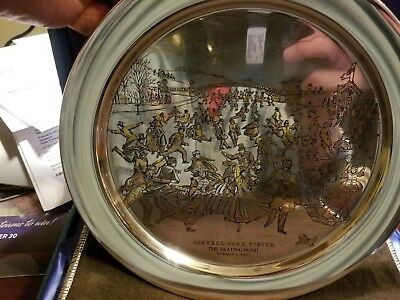 1973 Sterling Silver Danbury Mint Plate 7.5Oz Cntral Park Winter Skating Pond 8""
