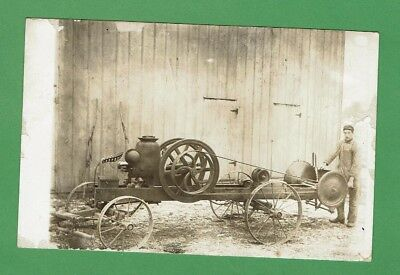 Great c.1900 Hit Miss Engine w Buzz Saw Logging Real Photo Postcard RPPC