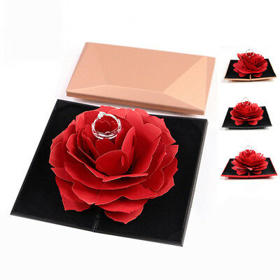 3D Unique Pop Up Rose Wedding Engagement Ring Boxes Jewelry Storage Case Ardent