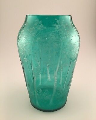 BEAUTIFUL! Studio Art Glass Vase Green Etched Birch Trees Signed 11 Inches Tall