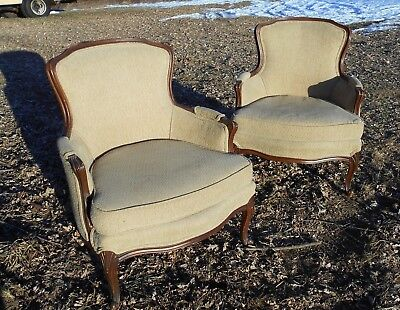 PAIR OF EARLY 20th CENTURY FRENCH BERGERE UPHOLSTERED WALNUT ARMCHAIRS