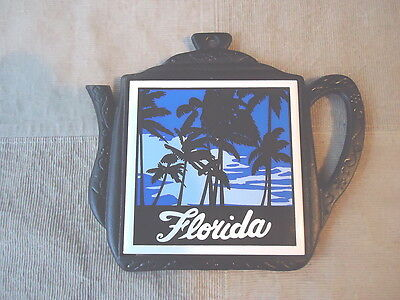 "Vintage Heavy Duty Florida Tea Pot Wall Plaque "" AWESOME RARE PIECE """