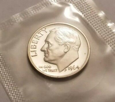 1964 P Proof Roosevelt Dime Mint Cello FREE Shipping 90% Silver