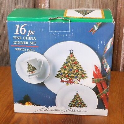 Christmas Tree 16 Piece Sea Gull Fine China Dinner Set Jian Shiang Original Box