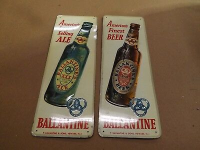 Vintage Ballantine Beer and Ale palm push door signs.= 1950's