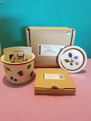 Longaberger Berry 1 Pint Crock w/Coaster Lid (NEW in BOX) Fruit Medley Pattern