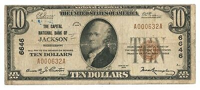 1929 Capital National Bank of Jackson, Mississippi Type 1 $10 Note, Ch. 6646