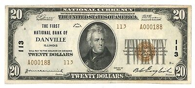 1929 First National Bank of Danville, Illinois Type 2 $20 Note, Ch. 113