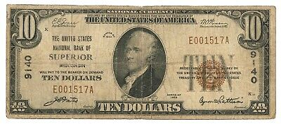 1929 United States National Bank of Superior Wisconsin Type 1 $10 Note, Ch. 9140