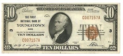 1929 First National Bank of Youngstown, Ohio Type 1 $10 Note, Ch. 3