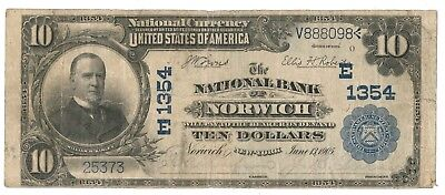 1902 National Bank of Norwich, New York Plain-back $10 Note, Ch. 1354
