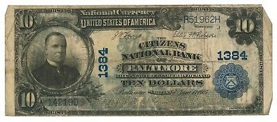 1902 Citizens Nationak Bank of Baltimore, Maryland Plain-back $10 Note, Ch. 1384