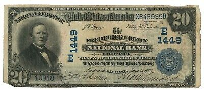 1902 Frederick County National Bank, Maryland Plain-back $20 Note, Ch. 1449