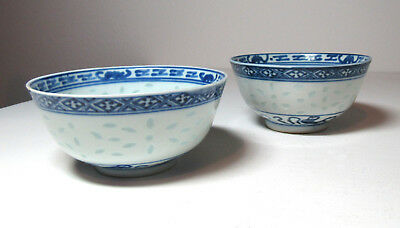 Antique Chinese pair rice bowls marked China signed blue white free US ship
