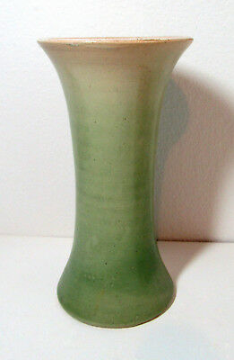 Antique PACIFIC STONEWARE arts & crafts green vase NW 9 1/4 inches free US ship