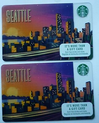 2 - Starbucks City Card Seattle 2017 #6141 Skyline At Night Mint No Value