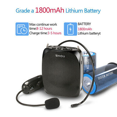 Wireless SHIDU 10W Voice Amplifier With Headset Support TF Card MP3 Format Audio